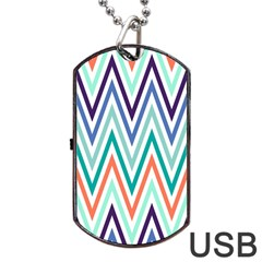 Chevrons Colourful Background Dog Tag USB Flash (Two Sides)