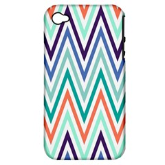 Chevrons Colourful Background Apple iPhone 4/4S Hardshell Case (PC+Silicone)