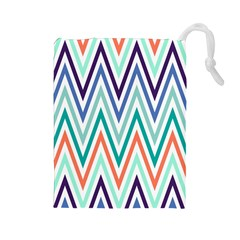 Chevrons Colourful Background Drawstring Pouches (Large)