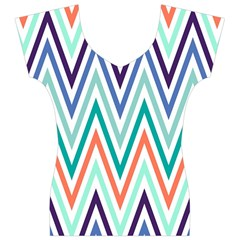 Chevrons Colourful Background Women s V-Neck Cap Sleeve Top