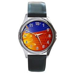 Christmas Abstract Round Metal Watch