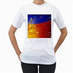 Christmas Abstract Women s T-Shirt (White) (Two Sided)