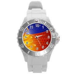 Christmas Abstract Round Plastic Sport Watch (L)