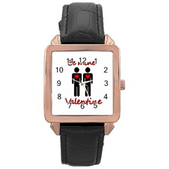 Be mine Valentine Rose Gold Leather Watch