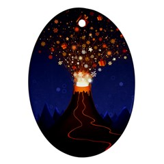 Christmas Volcano Oval Ornament (Two Sides)