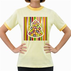 Christmas Tree Colorful Women s Fitted Ringer T-Shirts