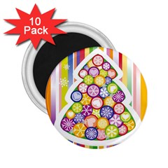 Christmas Tree Colorful 2.25  Magnets (10 pack)