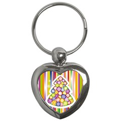 Christmas Tree Colorful Key Chains (Heart)