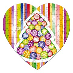 Christmas Tree Colorful Jigsaw Puzzle (Heart)