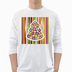 Christmas Tree Colorful White Long Sleeve T-Shirts