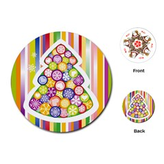 Christmas Tree Colorful Playing Cards (Round)