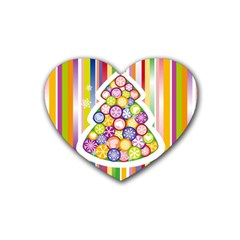 Christmas Tree Colorful Heart Coaster (4 pack)
