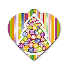 Christmas Tree Colorful Dog Tag Heart (One Side)