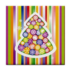 Christmas Tree Colorful Face Towel