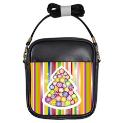 Christmas Tree Colorful Girls Sling Bags