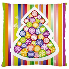 Christmas Tree Colorful Large Cushion Case (Two Sides)