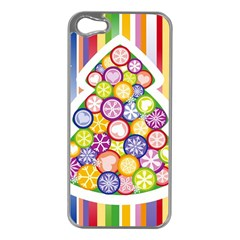 Christmas Tree Colorful Apple iPhone 5 Case (Silver)