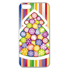 Christmas Tree Colorful Apple Seamless iPhone 5 Case (Clear)