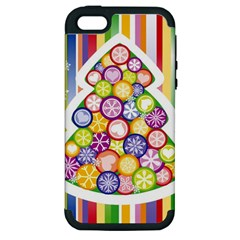 Christmas Tree Colorful Apple iPhone 5 Hardshell Case (PC+Silicone)