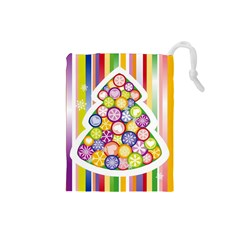 Christmas Tree Colorful Drawstring Pouches (Small)
