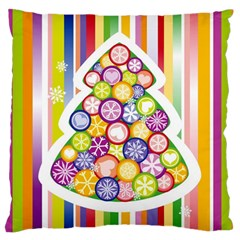 Christmas Tree Colorful Standard Flano Cushion Case (One Side)