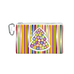 Christmas Tree Colorful Canvas Cosmetic Bag (S)