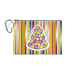 Christmas Tree Colorful Canvas Cosmetic Bag (M)