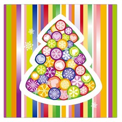 Christmas Tree Colorful Large Satin Scarf (Square)