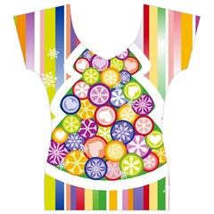 Christmas Tree Colorful Women s V-Neck Cap Sleeve Top