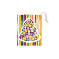 Christmas Tree Colorful Drawstring Pouches (XS)