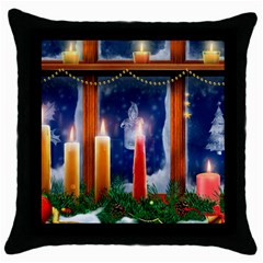 Christmas Lighting Candles Throw Pillow Case (Black)