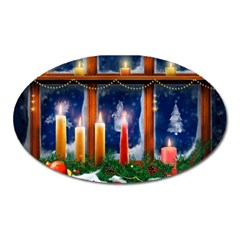 Christmas Lighting Candles Oval Magnet