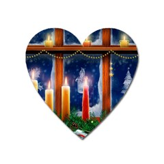 Christmas Lighting Candles Heart Magnet
