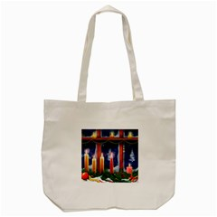 Christmas Lighting Candles Tote Bag (Cream)