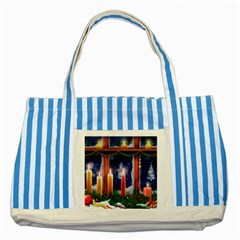 Christmas Lighting Candles Striped Blue Tote Bag