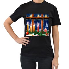 Christmas Lighting Candles Women s T-Shirt (Black)