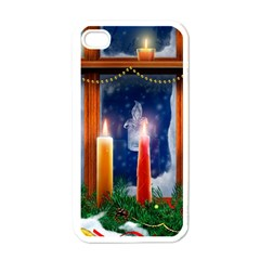 Christmas Lighting Candles Apple iPhone 4 Case (White)
