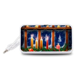 Christmas Lighting Candles Portable Speaker (White)