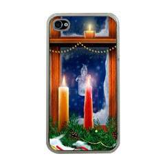 Christmas Lighting Candles Apple iPhone 4 Case (Clear)