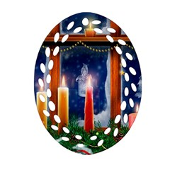 Christmas Lighting Candles Oval Filigree Ornament (2-Side)