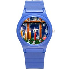 Christmas Lighting Candles Round Plastic Sport Watch (S)
