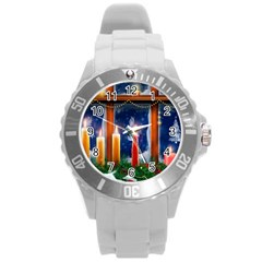 Christmas Lighting Candles Round Plastic Sport Watch (L)