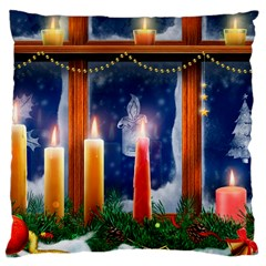 Christmas Lighting Candles Large Cushion Case (One Side)