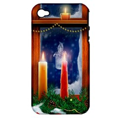 Christmas Lighting Candles Apple iPhone 4/4S Hardshell Case (PC+Silicone)