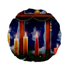 Christmas Lighting Candles Standard 15  Premium Round Cushions