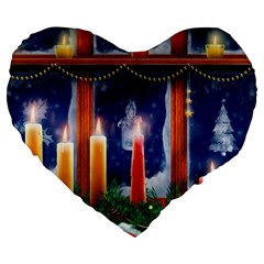 Christmas Lighting Candles Large 19  Premium Heart Shape Cushions