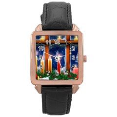 Christmas Lighting Candles Rose Gold Leather Watch