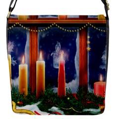 Christmas Lighting Candles Flap Messenger Bag (S)