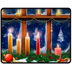 Christmas Lighting Candles Double Sided Fleece Blanket (Medium)