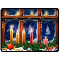 Christmas Lighting Candles Double Sided Fleece Blanket (Large)